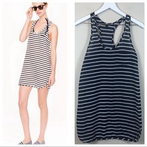 J. Crew Navy/White Striped Racerback Coverup Dress